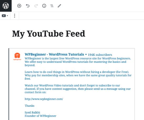 YouTube feed embedded