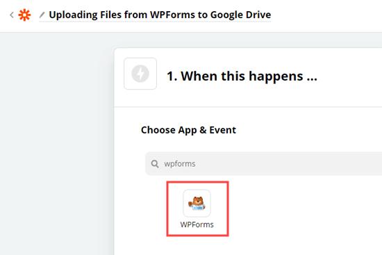 Choosing the WPForms app in Zapier